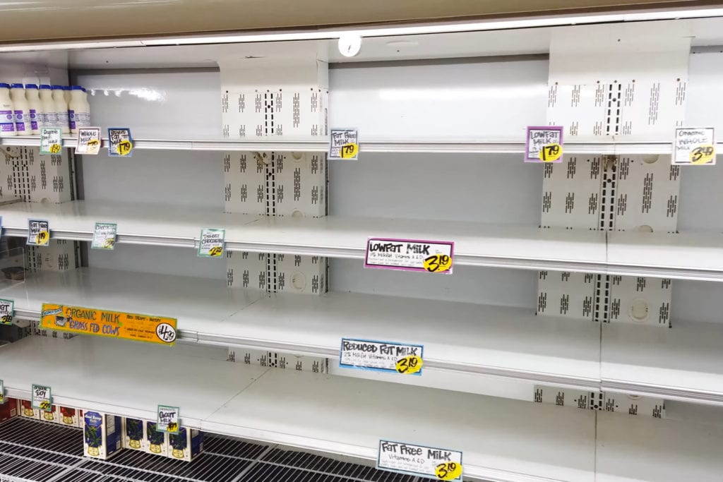 Empty Shelves at grocery store from covid 19 rush