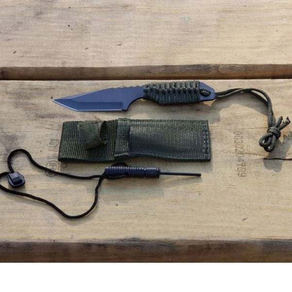 7in Survival Knife on wood